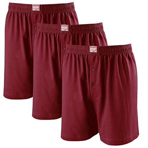 ADAMO Boxershorts James   Herren Boxershorts I Männer Shorts   Boxershorts Men   Shorts Herren I Herrenunterwäsche I 100{fadf13f0655c3d5657c217f05e5cebcbf4ce1a16f903aabe8cbdf8d796b3058f} Baumwolle 3er Pack in weinrot Übergrößen 8-20 / XXL-8XL, Größe:16