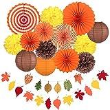 Whaline Decoraciones para Fiestas de Otoño, Abanicos de Papel Colgantes Naranjas Pompones de Papel Linternas de Papel Hojas de Arce Guirnaldas de Empavesado para la Celebración de Otoño (16 piezas)