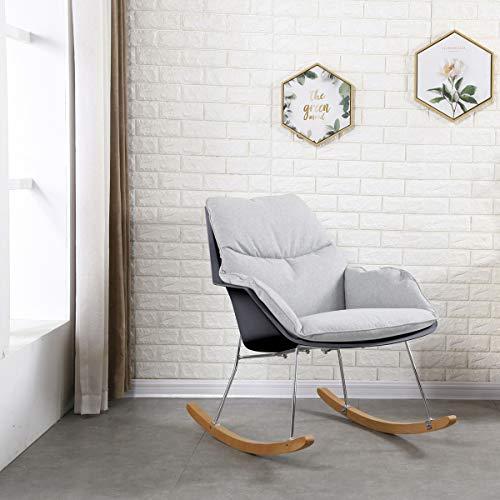 KAWOLA stoel Zony schommelstoel stof grijs met zwarte schaal