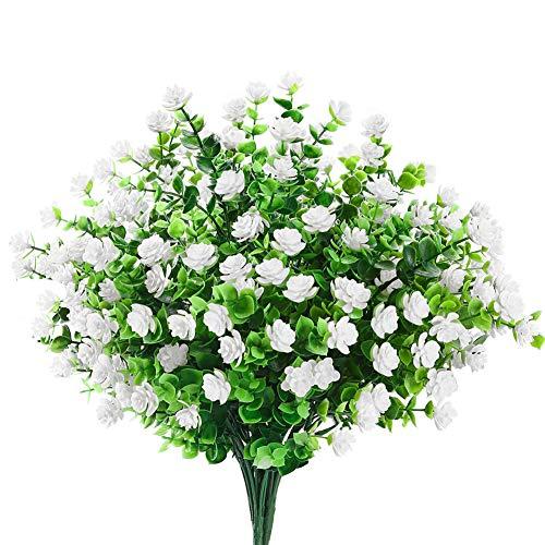 6 Bundles Artificial Flowers Outdoor Fake Flowers for Decoration UV Resistant No Fade Faux Plastic Plants Garden Porch Window Box Décor (White)