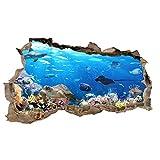 3D Wandtattoo Mauerloch Wandsticker Wandaufkleber Durchbruch Tiere selbstklebend H 60 x B 100 Schlafzimmer Wohnzimmer (WL42 Fische)