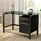 Waqiv Black Metal Industrial Computer Desk with 2 Drawers, Home Writing Desk with Premium Tempered Glass Top,46'' Width Steel Laptop Desk for Home and Office, Black