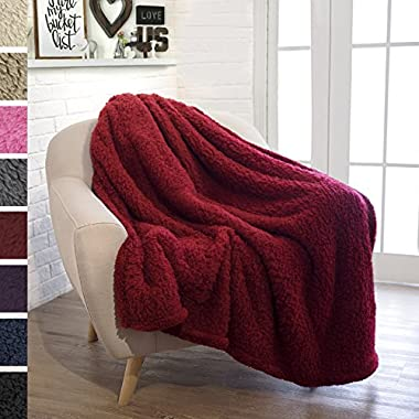 PAVILIA Plush Sherpa Throw Blanket for Couch Sofa | Fluffy Microfiber Fleece Throw | Soft, Fuzzy, Cozy, Lightweight | Solid Wine Red Blanket | 50 x 60 Inches