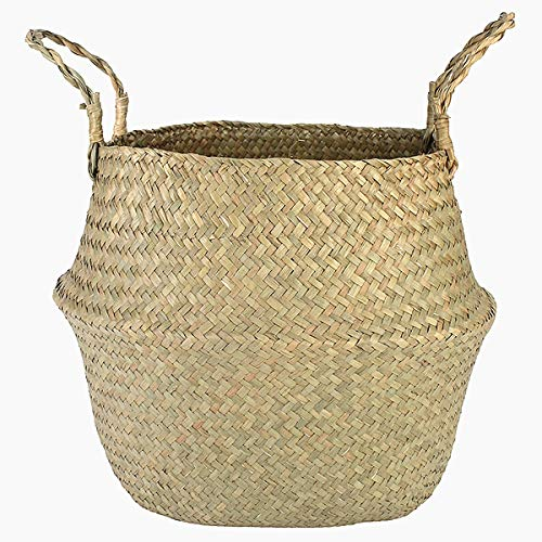 CHYCET Clothes hamper Seagrass Wickerwork Basket Rattan Hanging Flower Pot Dirty Laundry Hamper Storage Basket Container XXL 45x36cm hampers for laundry (Size : XL 32X28cm)