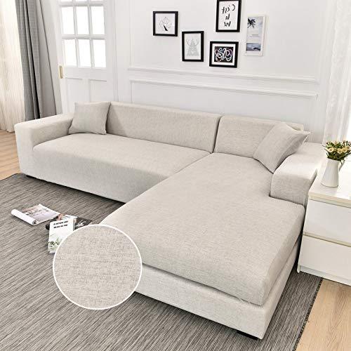 WXQY Funda para sofá Chaise Longue Funda para sofá para Sala de Estar Funda elástica para sofá a Prueba de Polvo con Todo Incluido Funda para sofá en Forma de L A1 3 plazas