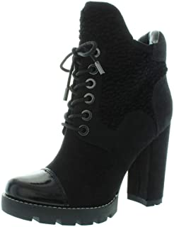 GUESS Womens Roxey 3 Cap Toe Ankle Fashion Boots, Black, Size 8.5