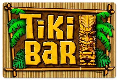 Past Time Signs Vintage-Retro Tiki Bar Metal-Tin Sign LARGE
