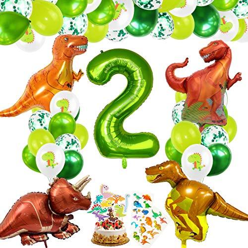Decoracion Cumpleaños Dinosaurios, Globos de Cumpleaños Dinosaurios, Globo Numero 2 Verde, Globos Dinosaurios, Globos de Cumpleaños 2 Años, Globos Grandes Gigantes Helio