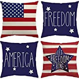 Glaring 4th of July Decorations Pillow Covers 18x18 Independence Day Set of 4 American Flag Stars and Stripes Patriotic Throw Pillow Covers USA Freedom Pillows Decor
