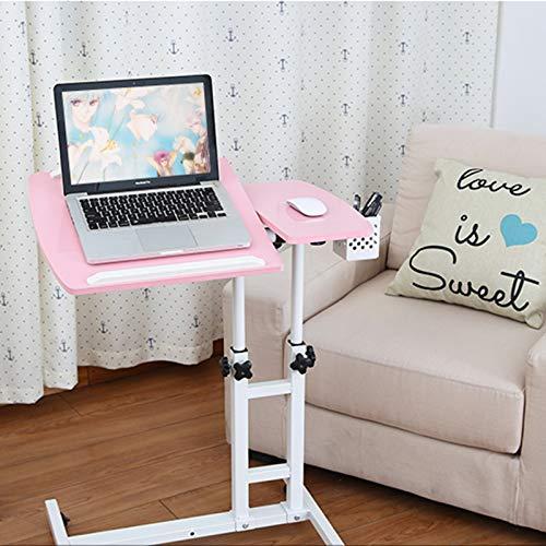SUMBITOD Medizinische Beistelltische, höhenverstellbar, Home Tilting Overbed Table, für Arbeitsbett Sofa Hospital Reading Eating (Color : Pink)