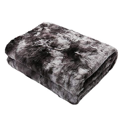 Manta de felpa artificial de 80x120 cm, manta de felpa Pv Tie-Dye, manta de felpa ligera suave y esponjosa, utilizada para cama, sofá, sillón reclinable, etc. (negro)