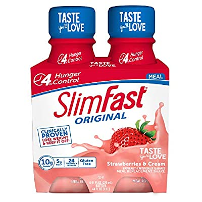 SlimFast Original - Weight Loss Meal Replacement RTD Shakes - with 10g Protein & 5g Fiber - Plus 24 Vitamins & Minerals per Serving - Strawberries & Cream - 4 Count - Pantry Friendly