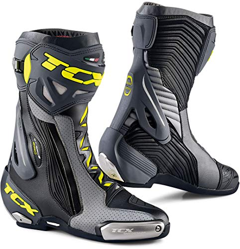 TCX RT-RACE Pro Air - Botas de moto (talla 40), color negro, gris y amarillo fluorescente, color negro y gris