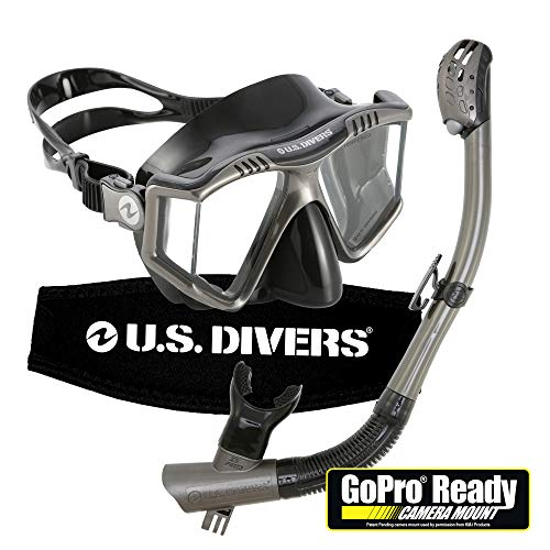 U.S. Divers 253614 Lux Purge Grenada LX Snorkel Mask with Panoramic Lens Technology and GoPro Mount, Gun Metal