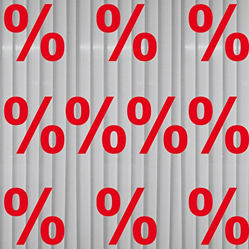 GreenIT 10 Aufkleber 10cm Prozent Zeichen Symbol Tattoo Deko Folie für Schaufenster Fenster Scheibe (rot)