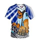 Camiseta Hombre Verano Tendencia Moda DJ Rock 3D Estampado Hombre Manga Corta Moderno Básico Cuello Redondo Regular Fit Hombre Shirt Urbana Luz Cómodo Hombre Casuales Camisa