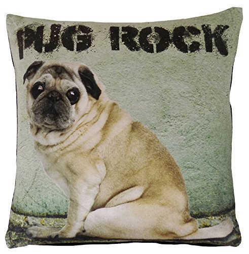 PUG PUPPY DOG BROWN BLACK VELVET THICK CUSHION COVER 17' - 43CM