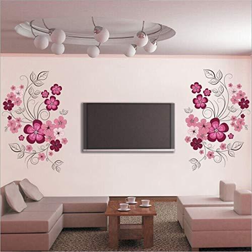 Abnehmbare Vinyl Wandaufkleber Blumen Wohnzimmer TV/Sofa Hintergrund Home Decoration Wandtattoos