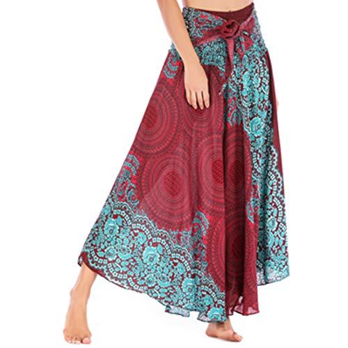 GYUANLAI Vestido Casual de Las Mujeres Flor Vestido de Playa Vestido de Fiesta Dos Desgaste Gran Swing Falda Danza del Vientre Dobladillo asimétrico Falda de diseño Vino Rojo
