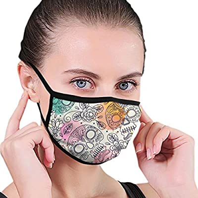 """Unisex Masks Skull-Flowers-Seamless-Background-Mexican-Day 6.8"""" X 4.7""""Inch Face Mouth Mask Cotton Face Mask Cotton, Washable"""