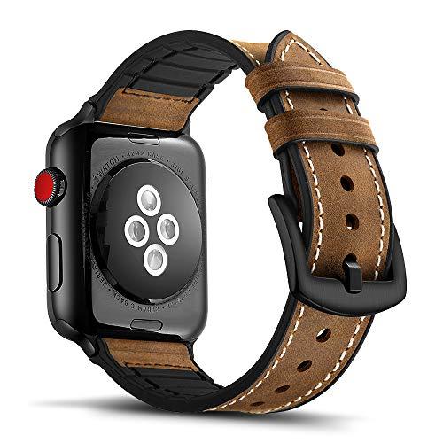 Tasikar per Cinturino Apple Watch 42mm 44mm Design in Pelle e Silicone Compatibile con Apple Watch SE Serie 6 Serie 5 Serie 4 Serie 3 Serie 2 Serie 1 (Marrone)