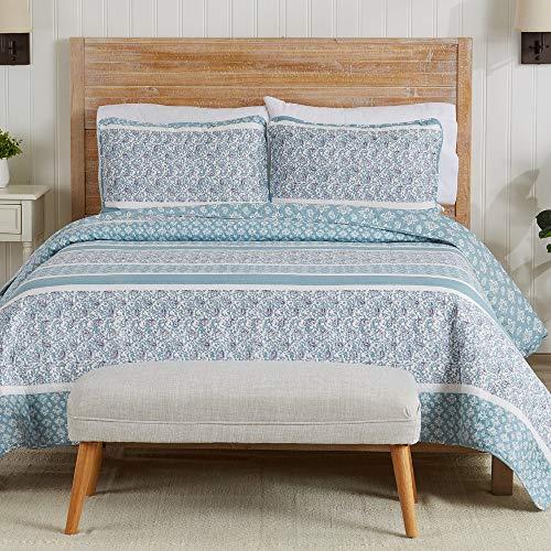 Great Bay Home Wende-Tagesdecke, Paisley-Muster, gestreift, für Doppelbett, mit 1 Kissenhülle, 2-teilig, wendbar, für alle Jahreszeiten, Himmelblau
