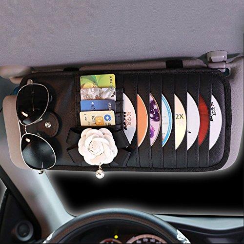 Inebiz Luxe de voiture Charm Superbe Cuir Camélia Pare-soleil de voiture 8-pockets Organiseur de CD & DVD avec lunettes et porte-stylo