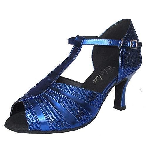 Zapato de baile latino para mujer de 7,6 cm con tacón acampanado y puntera abierta, suela suave, para fiestas sociales y bailes profesionales, más colores, (Azul Royal), 38.5 EU