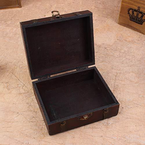 FunAloe Caja de almacenamiento de joyería vintage, hecha a mano, caja de almacenamiento decorativa, cofre del tesoro de madera, para anillos, pulseras, pendientes, collares