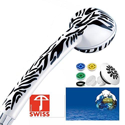 Duschkopf SwissClima SAFARI TOP! Kräftig für mehr Druck, zB Durchlauferhitzer und weniger Wasser: verkalkungsfreie Handbrause, Regenstrahl-Aufsatz, 3 Reduzierer, SwissMade