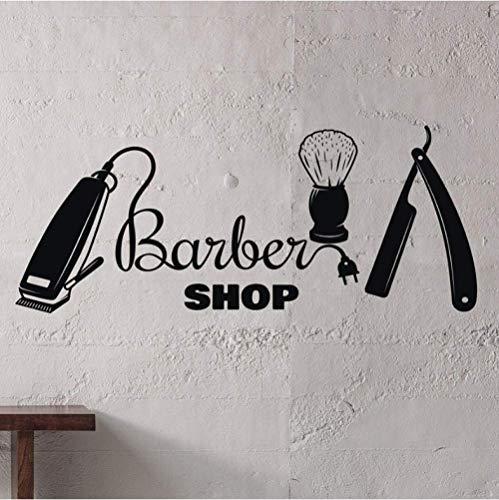 Muurtattoo haarknit beauty salon teken man salon interieur decoratie vinyl muursticker kapper gereedschap wandafbeelding 30 x 73 cm
