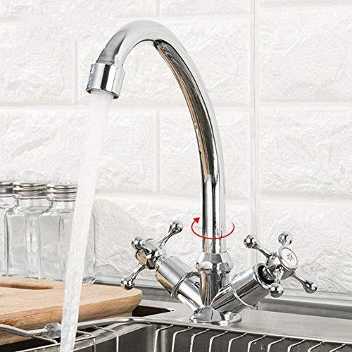 Gran oferta grifo de cocina montado en cubierta de doble manija 360 grados accesorios de fregadero de agua fría y caliente mezclador de cocina Robinet