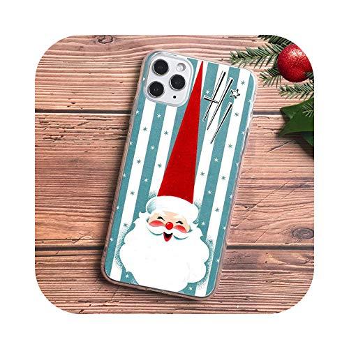 KASHINO Bonita funda de teléfono de Navidad para iPhone 11 PRO MAX XR XS max 6 8 7 plus SE 2020 colores caramelo mate suave TPU Caso D1455-For 7 Plus 8 Plus