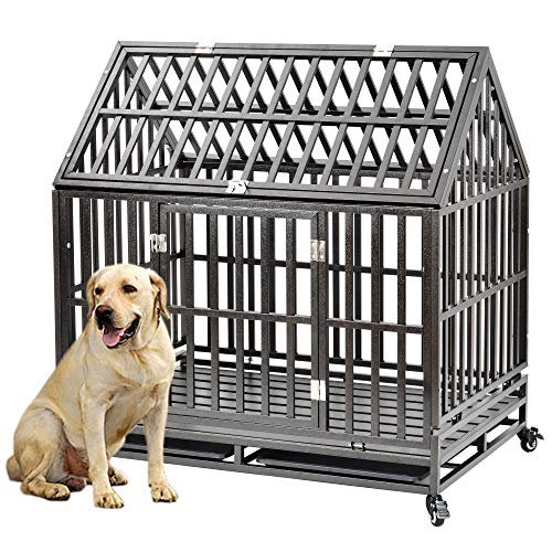 Heavy Duty Dog Crate Cage Kennel Playpen Large Roof Strong Metal Outdoor for Large Dogs Cats with Two Prevent Escape Lock and Four Lockable Wheels, 45''
