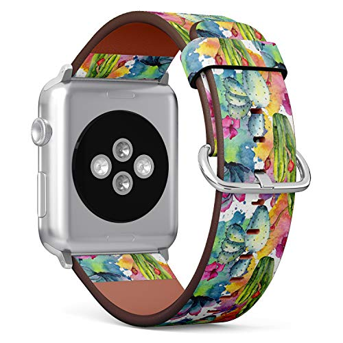 Compatible with Apple Watch (Small 38mm/40mm) Series 1,2,3,4 - Leather Band Bracelet Strap Wristband Replacement - Exotic Wildflower Cactus Watercolor