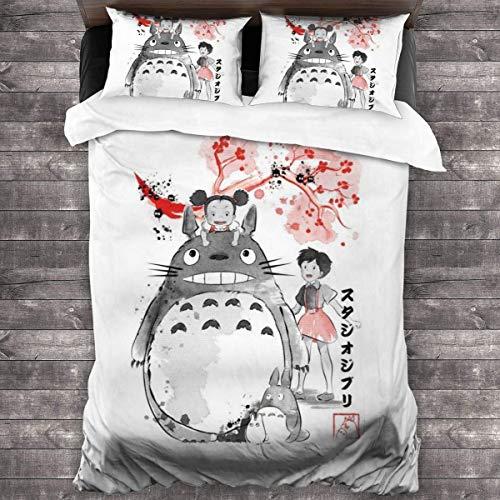 Mi Vecino Totoro Sumie Juego de Cama de 3 Piezas Funda nórdica Decorativa 3 piezase Juego de Cama con 2 Fundas de Almohada