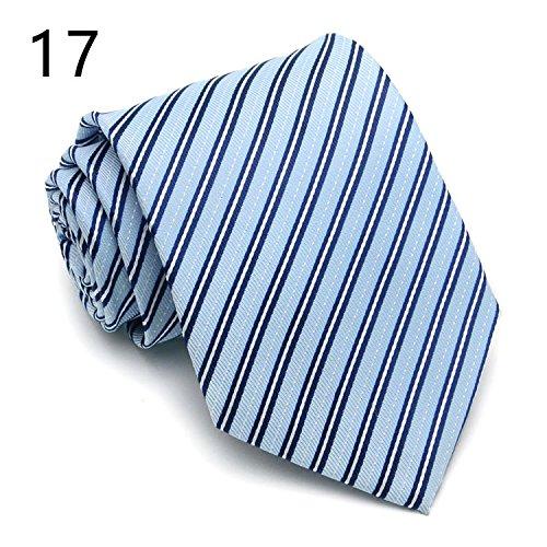 WUNDEPYTIE Job-Vorstellungsgespräch für Krawatten aus Polyesterfasern für Männer, Blue E}