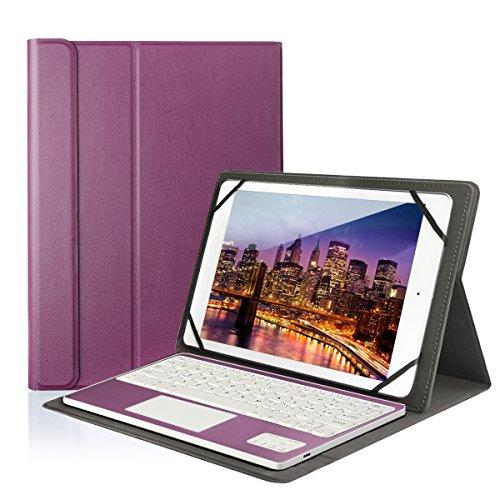 """Feelkaeu Teclado Bluetooth Inalámbrico 3.0 QWERTY Español con Multi Touchpad con Funda PU Cuero Soporte - Compatible 9.6""""/9.7""""/10.1"""" Cualquier Windows/Android Tablet Púrpura"""