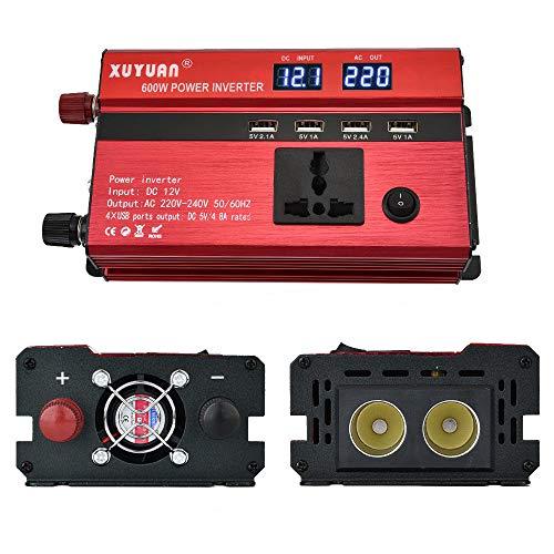 GBHJJ 600W Spannungswandler, Gleichstrom 12V Zu Wechselstrom 220V AutoladegeräT Modifizierter Sinus-Wechselrichter Mit Universalsteckdose Und 4 USB-AnschlüSsen,600W-12vTo220v