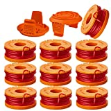 10ft 0.065' Line String Trimmer Replacement Spool Compatible with Worx WA0010 String Trimmers Replacement Autofeed Spool,12-Pack (10 Pack Grass Trimmer Line,2 Trimmer Cap) by LIYYOO