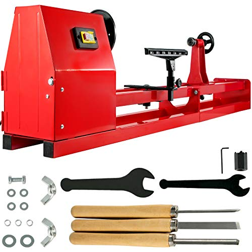"Mophorn Wood Lathe 14"" x 40"", Power Wood Turning Lathe 1/2HP 4 Speed 1100/1600/2300/3400RPM, Benchtop Wood Lathe with 3 Chisels Perfect for High Speed Sanding and Polishing of Finished Work"