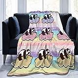 Anganganiel Mantas para Cama Anti-Pilling súper Suave y cómoda Panda Regalo de cumpleaños para niños Adultos Navidad Decoración de Halloween 125 × 100 cm