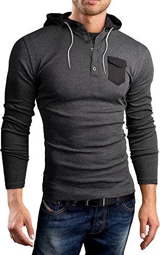 Black Hills Slim Fit Sweat Shirt, Pull à Capuche, Manches Longues, Gris foncé, M, BH132