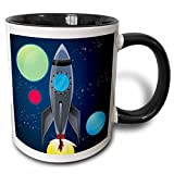 3dRose Boys Rocket Ship With Planets Design On A Dark Blue Background Two...