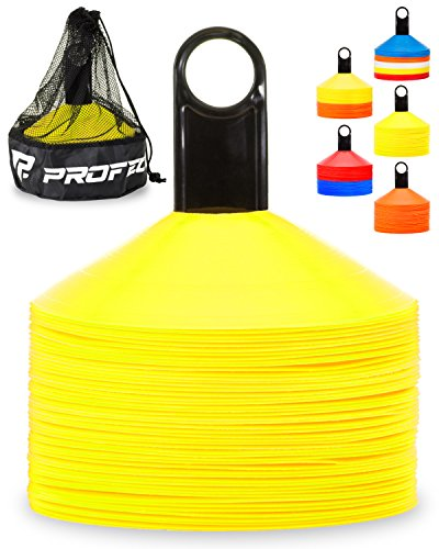 Pro Disc Cones (Set of 50) – Agility Soccer Cones with Carry Bag and Holder for Training, Football, Kids, Sports, Field Cone Markers – Includes Top 15 Drills eBook (Bright Yellow)