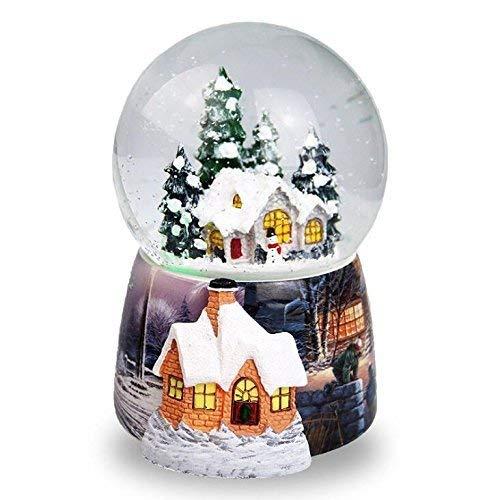 Fytoo Christmas Snow House Bola de Cristal, Caja de música, Spray automático Caja de música de Nieve Decoración...