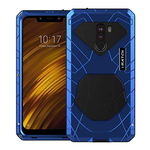 Eastco Pocophone F1 Funda, Pocophone F1 Heavy Duty Funda, Armor Aluminum Alloy Metal Cover Bumper Hybrid Soft Rubber Military Shockproof Hard Defender Handyhülle para Xiaomi Pocophone F1 Smartphone