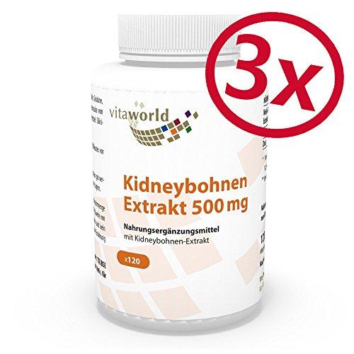 3er Pack Vita World Kidney Bohnen Extrakt 500mg 360 Kapseln mit Wirkstoff Phaseolin Apotheker-Herstellung