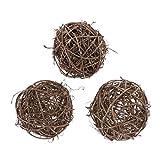 joyMerit 3x Bolas Decorativas de Mimbre de Ratán, Florero, Relleno de Cuenco, Bolas de