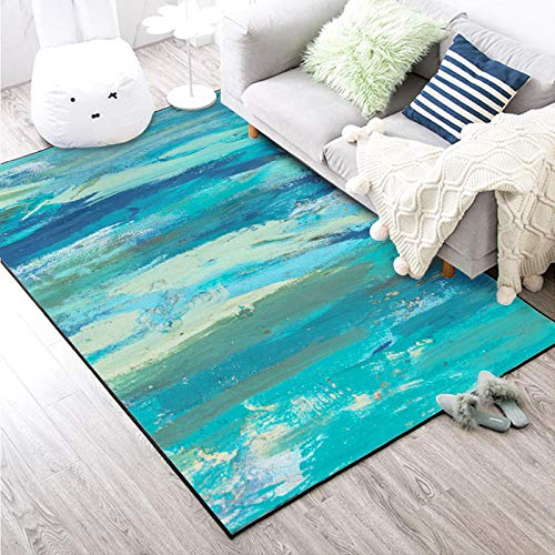 VGFGI Abstracto Agua de mar Playa Pintura al óleo Azul Cocina Sala de Estar Dormitorio cabecera impresión 3D Antideslizante Sala de Estar área de decoración Alfombra Felpudo